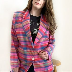 Vintage Harris Wallace 1 Button Plaid Blazer SZ L